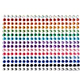 SANC 300 Pieces 5mm Multicolor Bling Rhinestone Sticker Sheet Gem Diamond Self Adhesive