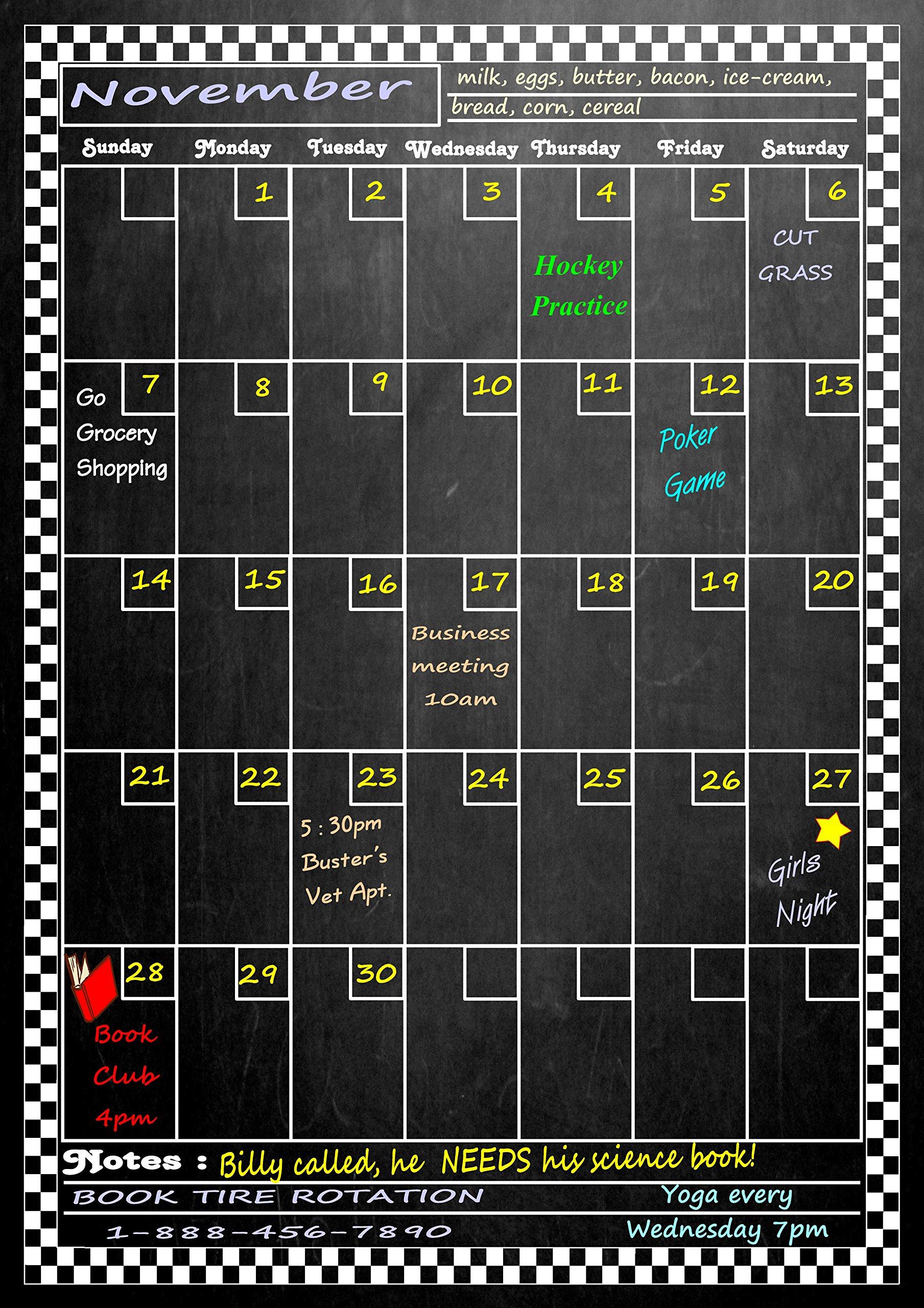 Large Vertical Magnetic Refrigerator Chalkboard Dry Erase Calendar 17'' X 12'' (Vertical Dusty Chalkboard Design)