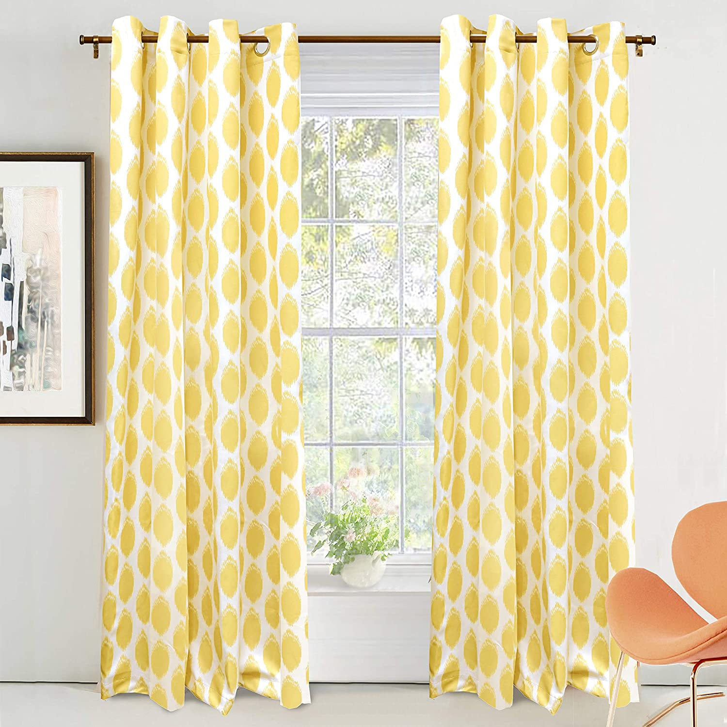 DriftAway Allen Trellis Room Darkening Thermal Insulated Grommet Unlined Window Curtains Set of 2 Panels Yellow 52 Inch by 84 Inch
