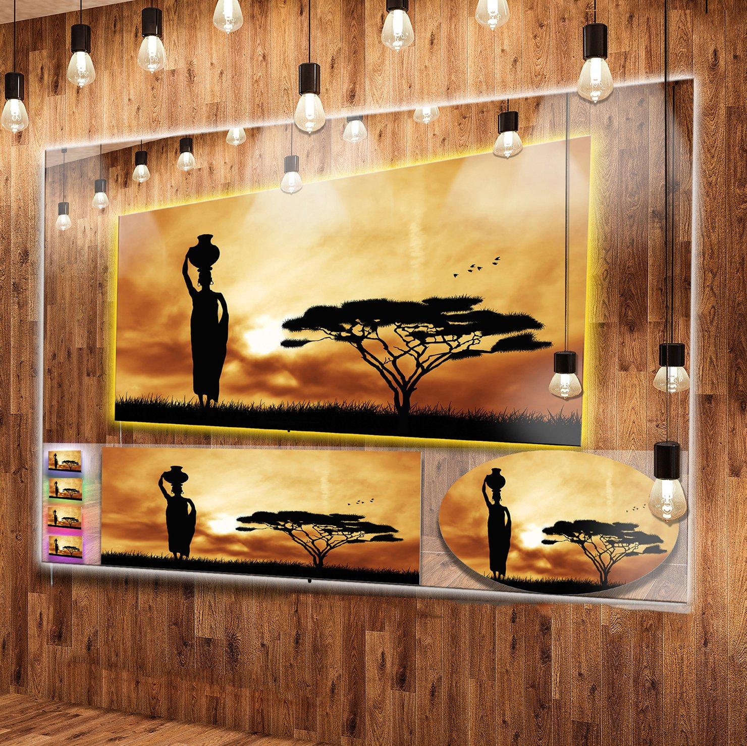 Amazon.com: Designart MT12979-48-40-LED African Woman & Lonely Tree ...