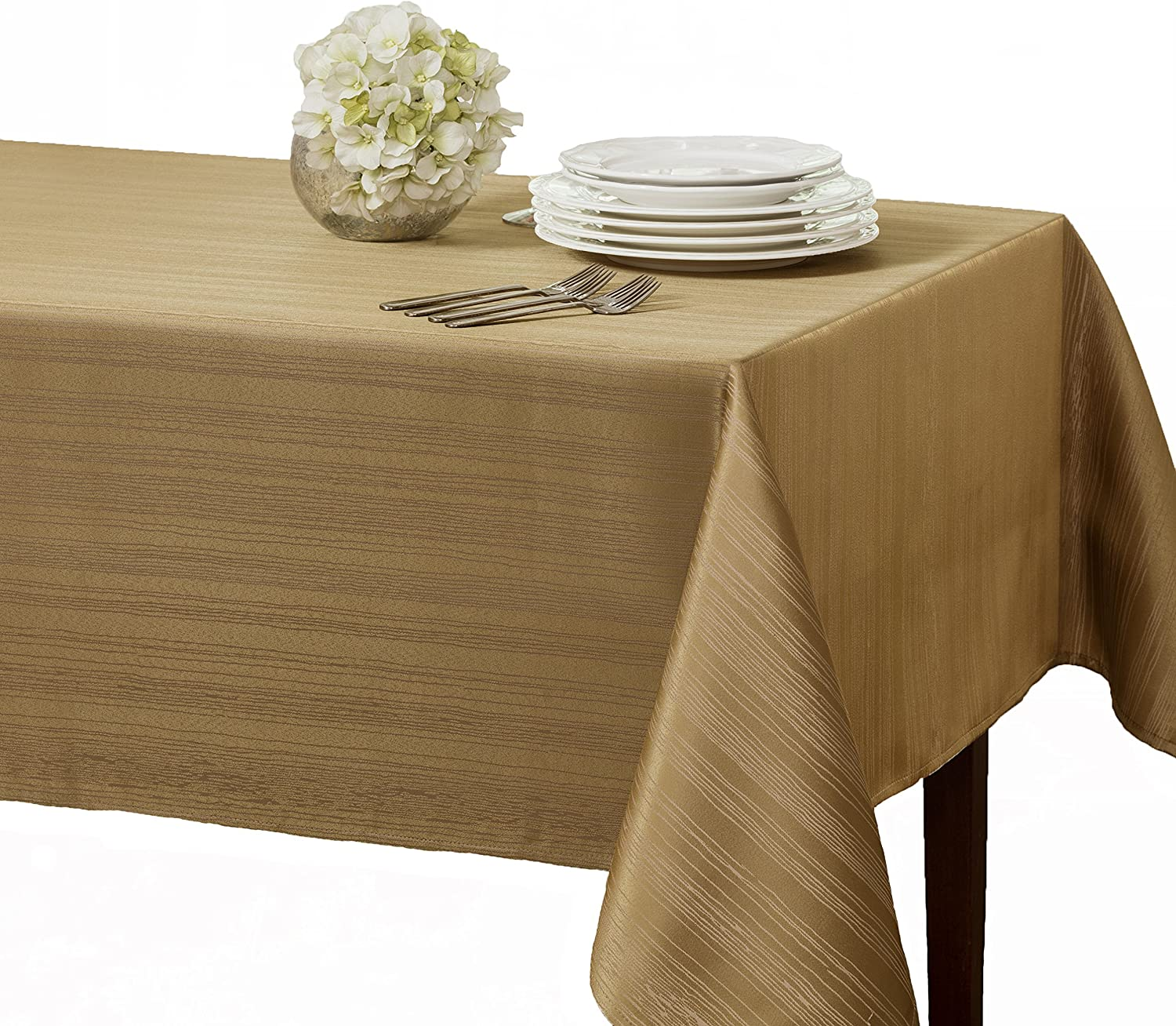 """Benson Mills Flow """"Spillproof"""" 60-Inch by 104-Inch Fabric Tablecloth, Taupe/Gold"""