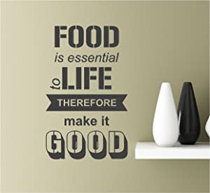 Southern Sticker Company Food is Essential to Life Therefore Make it Good Vinyl Wall Art Inspirational Quotes Decal Sticke