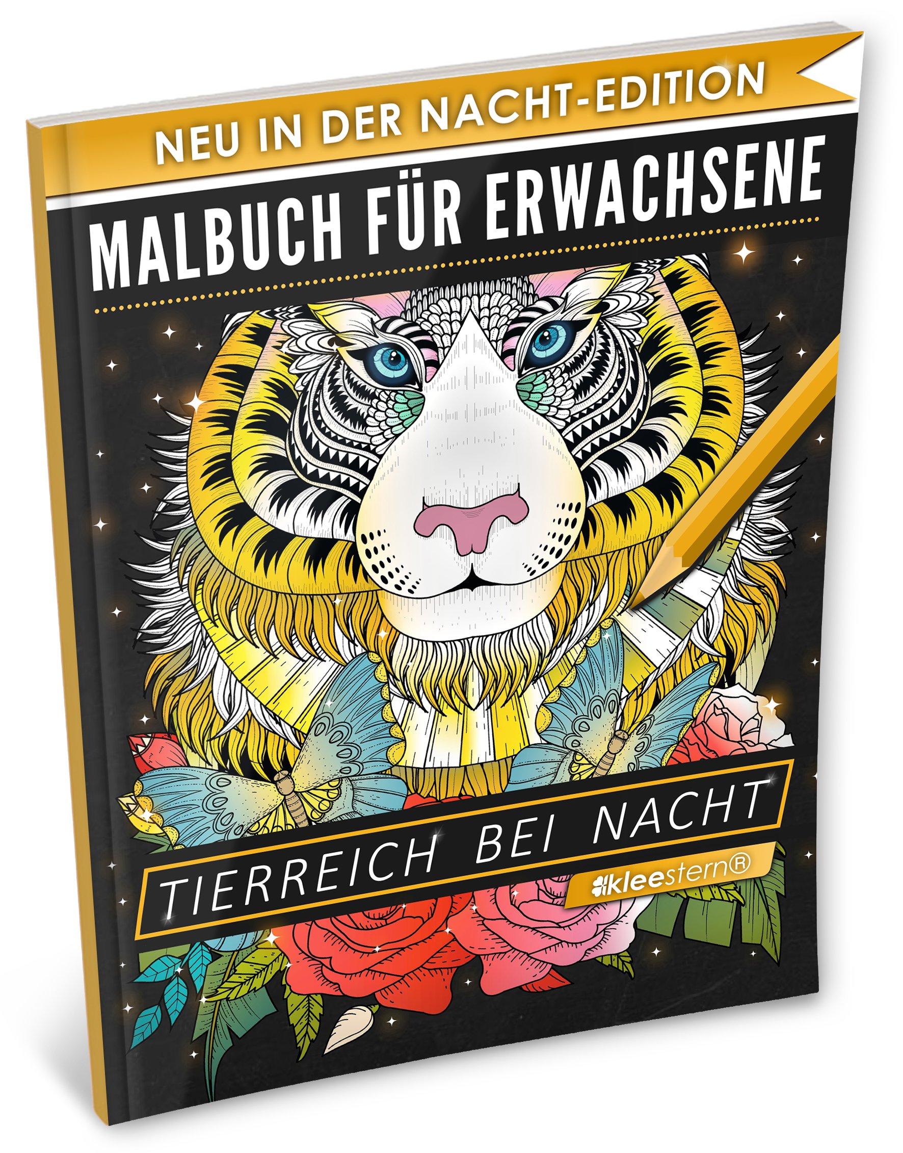Malbuch für Erwachsene: Tierreich bei Nacht (A4 Nacht Edition, 40+ Ausmalbilder, Ideal für Neon & Glitzerstifte, Kleestern®)