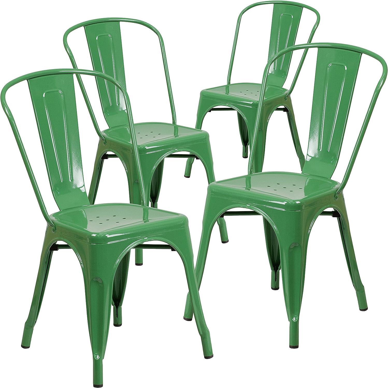Flash Furniture 4 Pk. Green Metal Indoor-Outdoor Stackable Chair