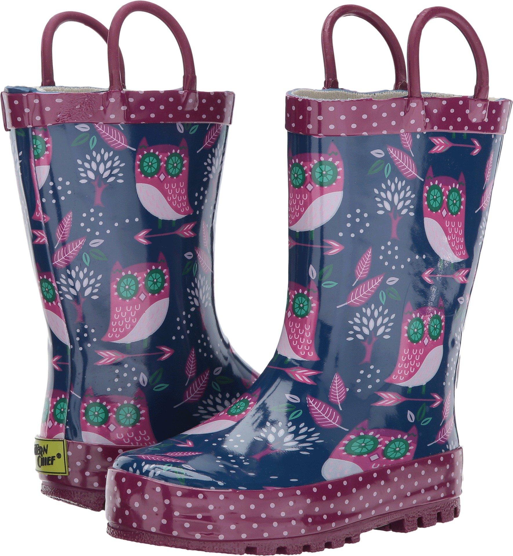 Western Chief Kids Baby Girl's Owl Dream Rain Boots (Toddler/Little Kid) Navy 13 Little Kid M