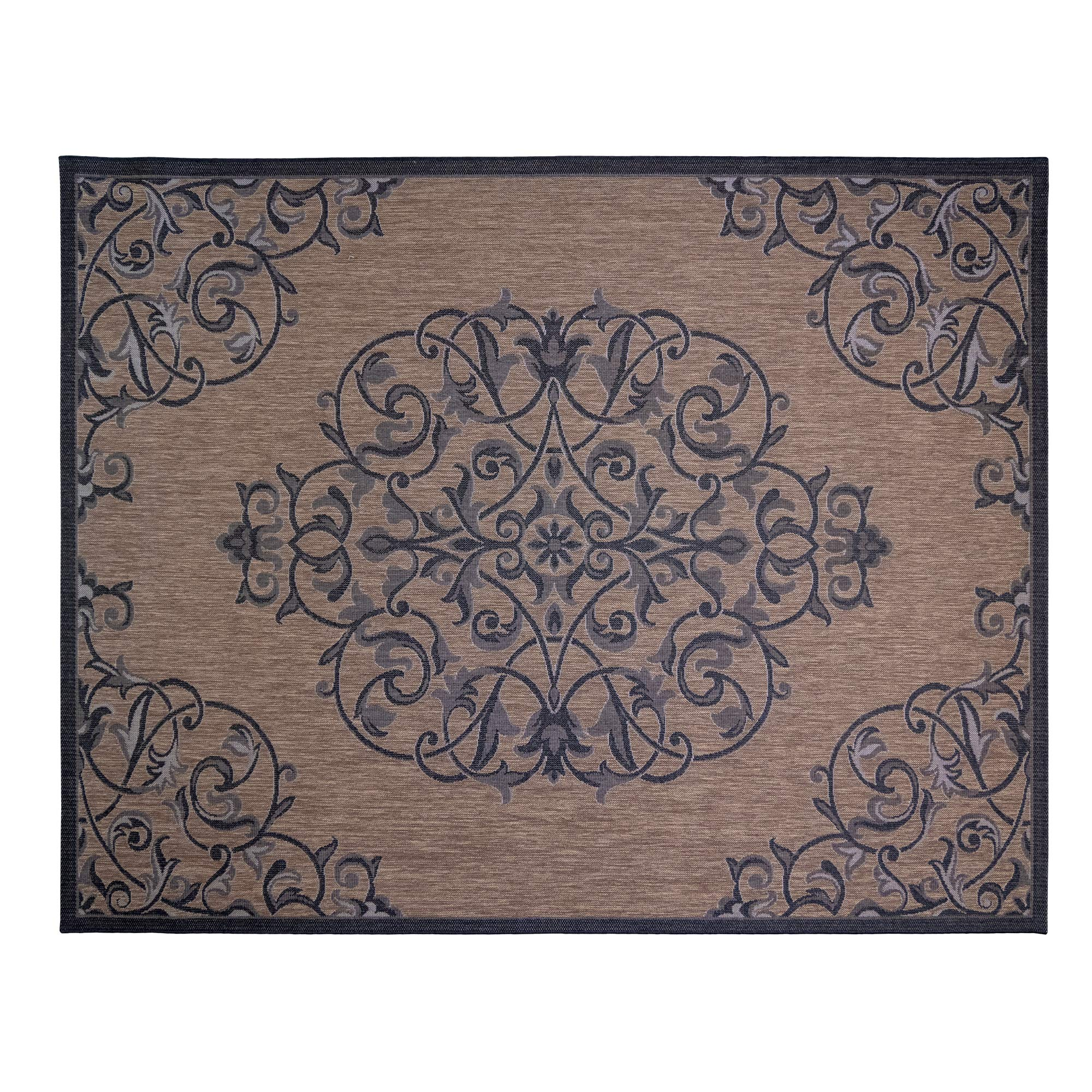 Gertmenian 21649 Nautical Tropical Carpet Outside Patio Rug, 8x10 Large, Brown Center Medallion