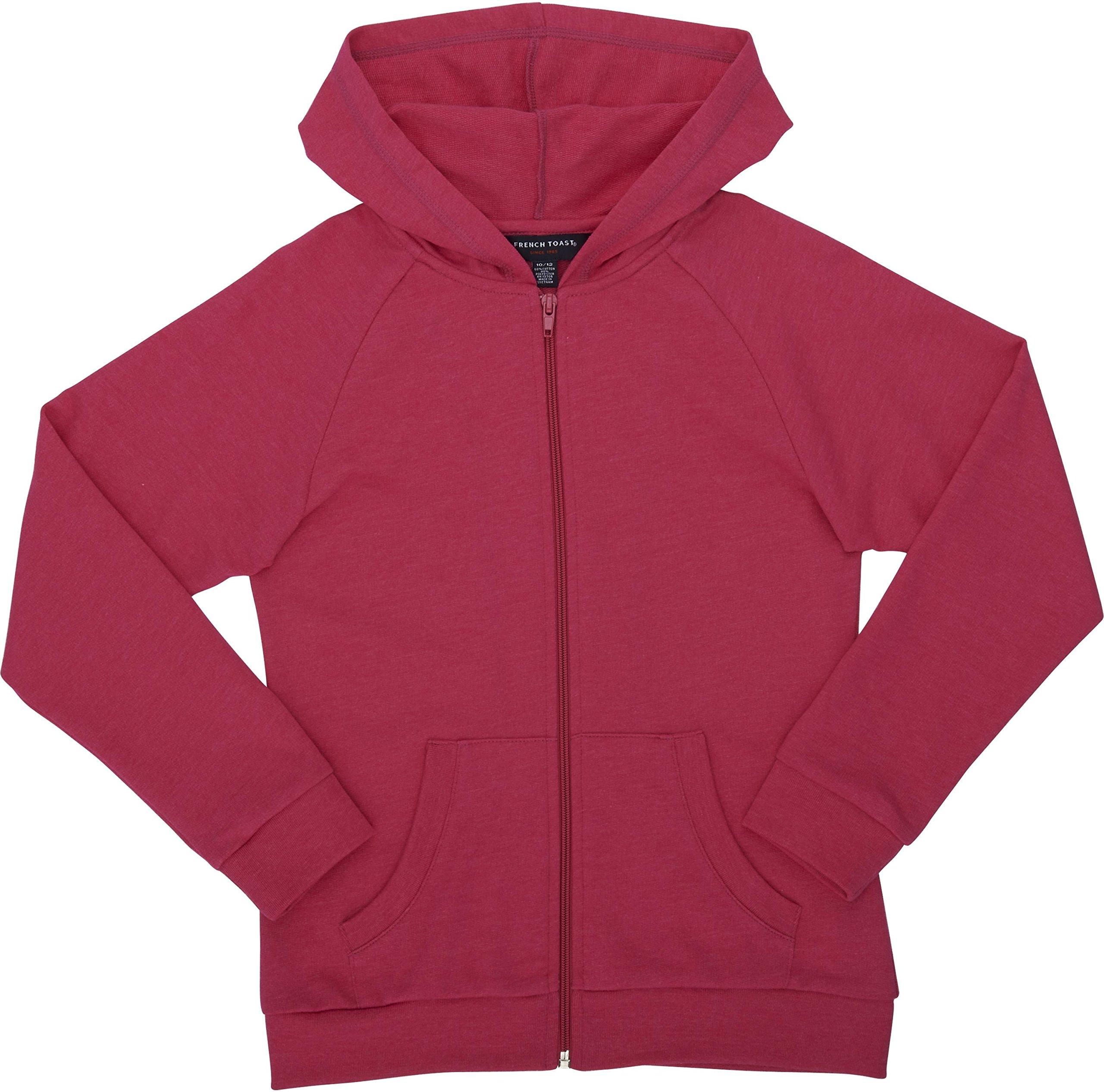 French Toast School Uniform Girls Active Jacket Hoodie, Shocking Fuchsia Heather, Large (10/12)