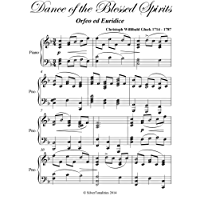 Dance of the Blessed Spirits Gluck Easy Intermediate Piano Sheet Music