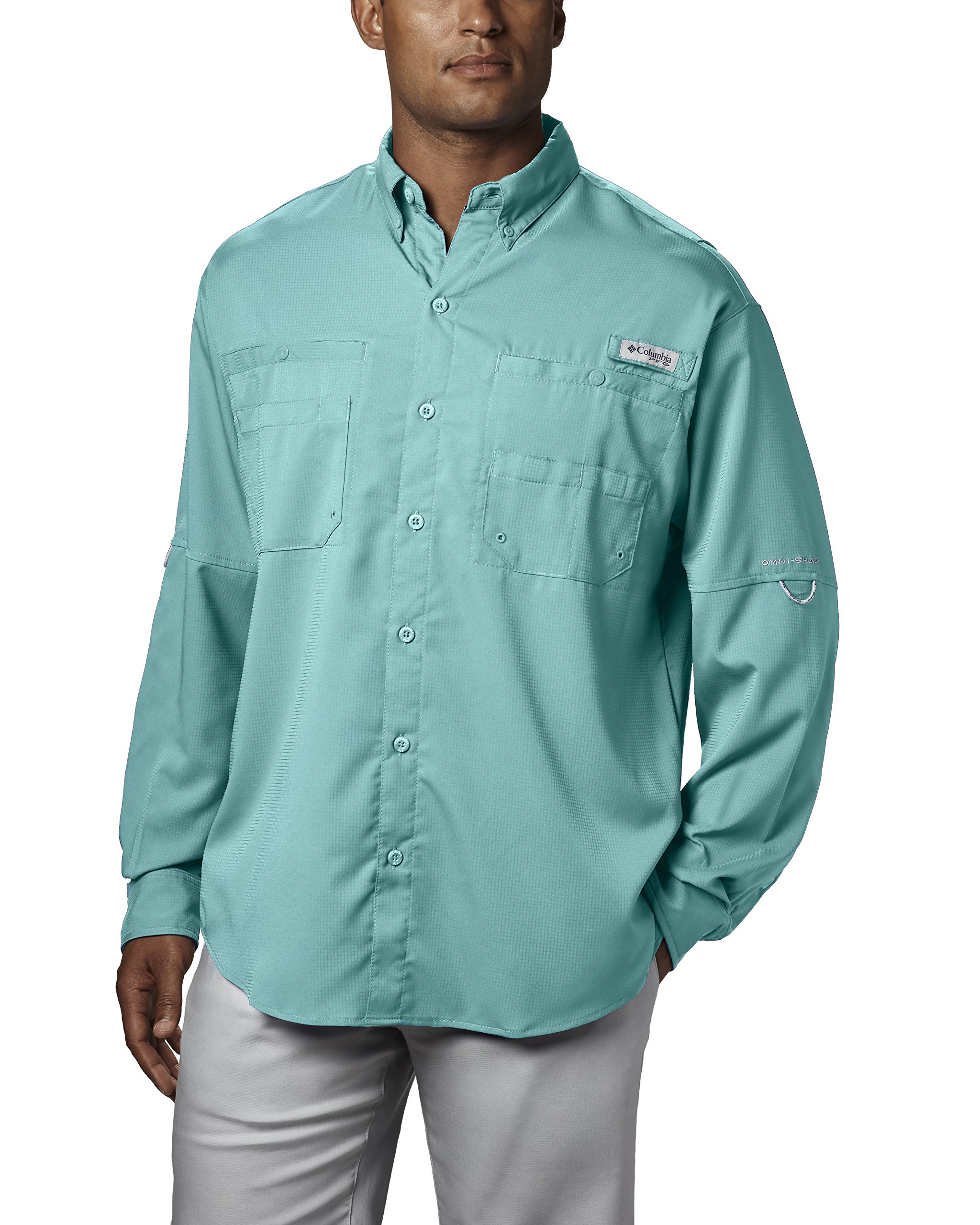 Columbia Men's Plus Tamiami II Long Sleeve Shirt, Gulf Stream - X-Small