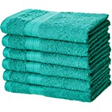 AmazonBasics Fade-Resistant Cotton Hand Towel - Pack of 6, Teal