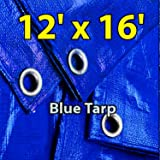 12' X 16' Blue Multi-purpose Waterproof Poly Tarp Cover with Tent Shelter Camping Tarpaulin By Prime Tarps
