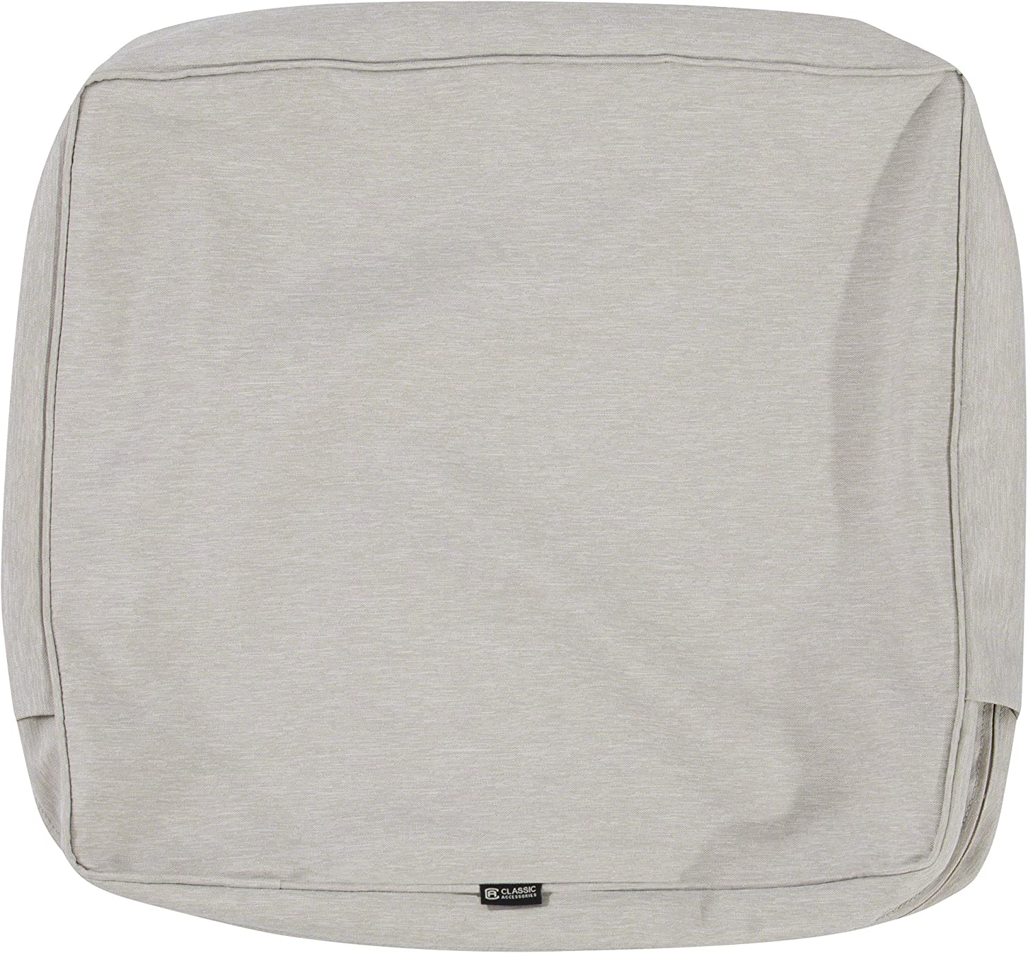 Classic Accessories Montlake Water-Resistant 21 x 22 x 4 Inch Patio Back Cushion Slip Cover, Heather Grey