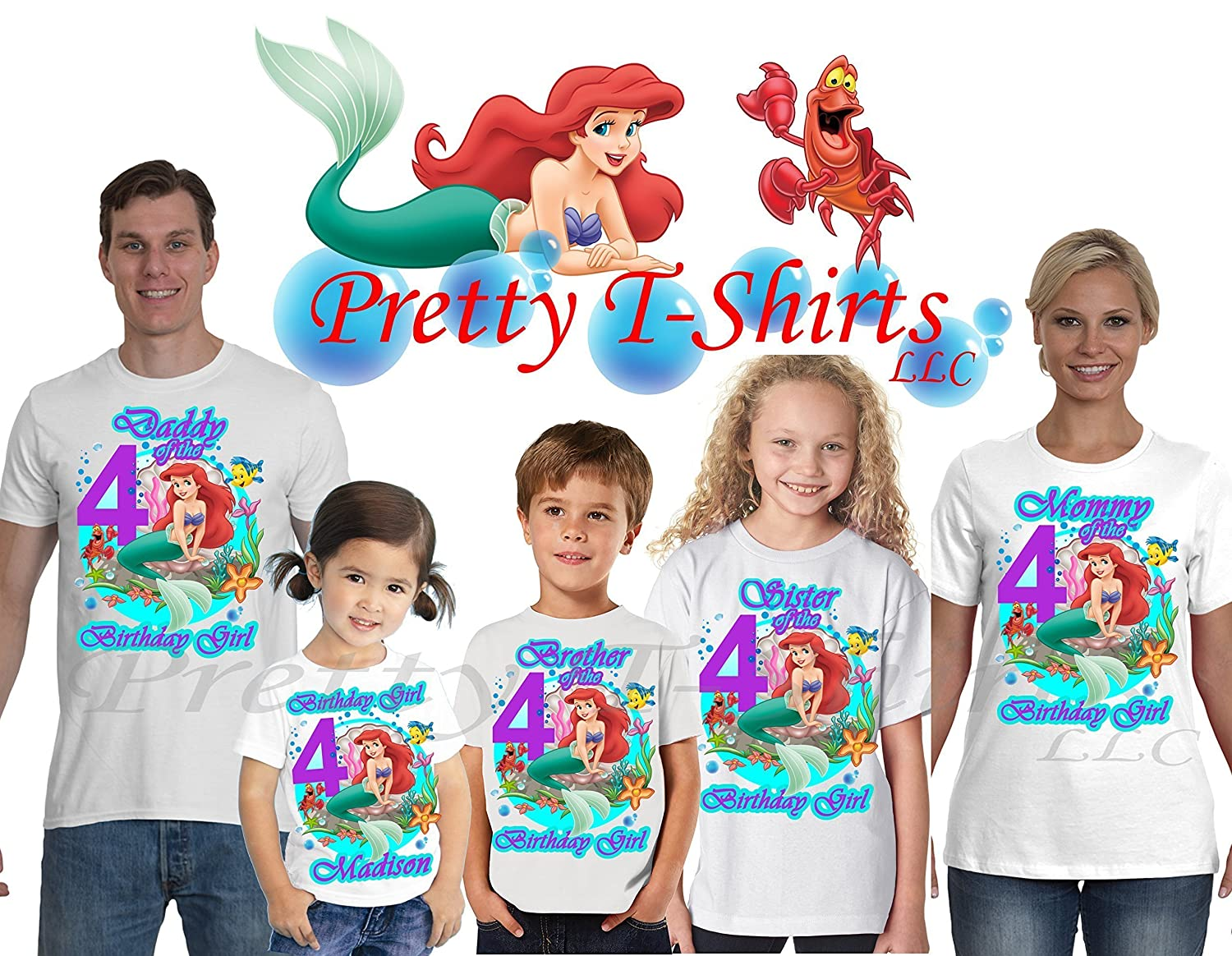 Amazon Ariel Birthday Shirt ADD Any Name And Age Little Mermaid Party FAMILY Matching Shirts Girl Princess