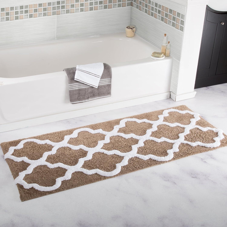 Lavish Home 67-0029-B 100% Cotton Trellis Bathroom Mat-24x60, Bone Trademark Global