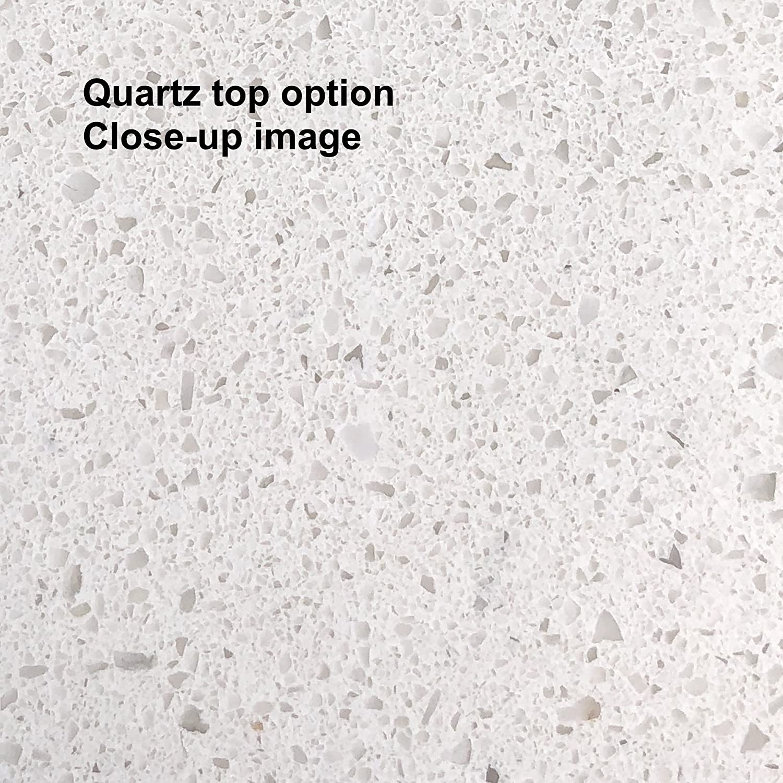 Quartz//White and White Ceramic Farmhouse Apron Sink : Includes a White Quartz Countertop Charlotte 48-inch Bathroom Vanity White Cabinet with Soft Close Drawers