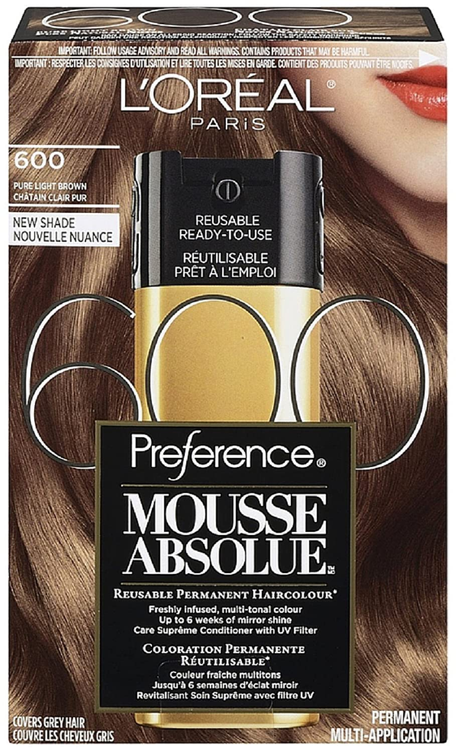 L'Oreal Paris Superior Preference Mousse Absolue Automatic Reusable Color, Pure Light Brown [600] 3.20 oz (Pack of 2)