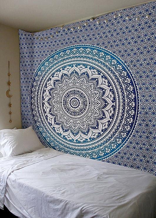 Tradicional tapiz de mandala indio, hippie, para colgar en la pared, colcha de algodón bohemio., algodón, azul, Twin(54x72 Inches)(140x185 Cm): Amazon.es: Hogar