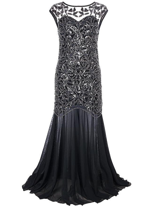 7494685560 Amazon.com: PrettyGuide Women 's 1920s Black Sequin Gatsby Maxi Long  Evening Prom Dress: Clothing