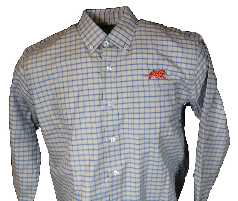 Auburn Grey Tattersall Dress Shirt Tiger Blue