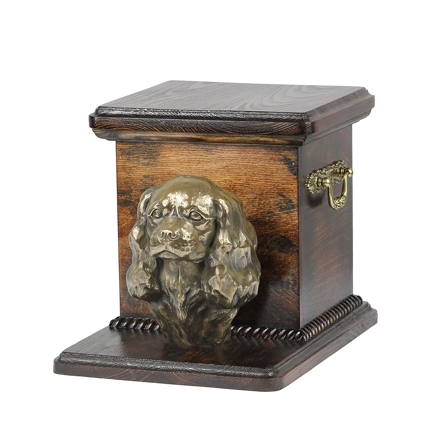 King Charles Spaniel, memorial, urn for dog's ashes, with dog statue, ArtDog