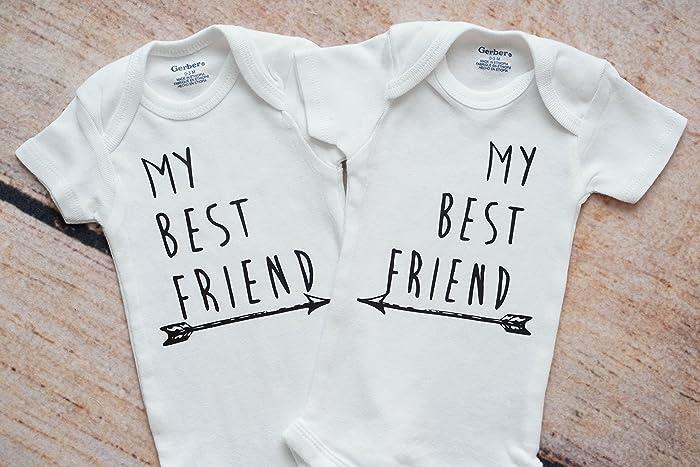 8ec84fc8a8db Amazon.com: My Best Friend Twin Baby ONESIES®: Handmade