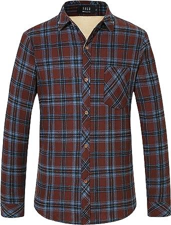SSLR. Chaqueta, camisa a cuadros de franela para hombre de ajuste estándar, informal, manga larga, forro polar