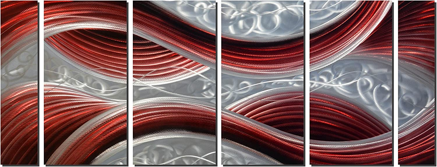 Handmade Abstract Metal Wall Art with Soft Color, Large Scale Decor in Dark Red Line Design Metal Art, 3D Artwork for Indoor Outdoor Wall Decorations, Decorative hanging in 6-Panels Measures 24