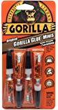 Gorilla Minis, Original Waterproof Polyurethane Glue, Four 3 gram Tubes, Brown, (Pack of 1)