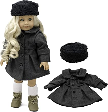 "3 Pc Beautiful Gray Coat Hat /& Scarf Fits American Girl Doll or other 18/"" Dolls"