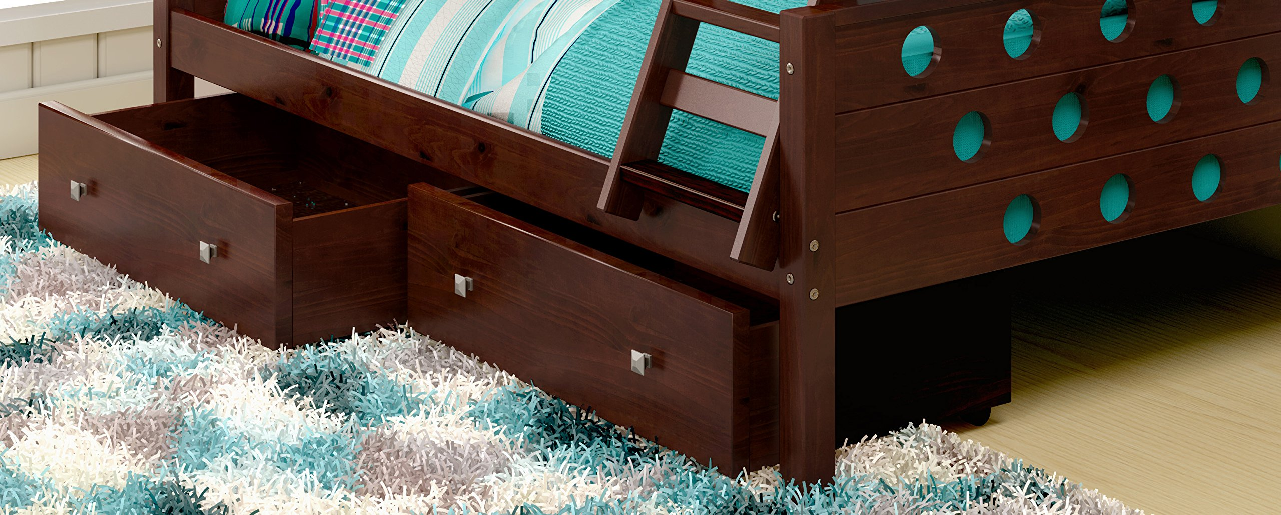 DONCO Kids 505-CP Dual Under bed Storage Drawers, Dark Cappuccino