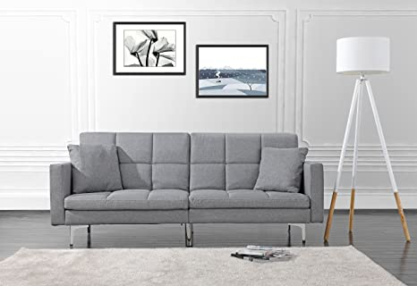 Pleasant Modern Plush Tufted Linen Split Back Living Room Futon Sofa For Small Space Light Grey Squirreltailoven Fun Painted Chair Ideas Images Squirreltailovenorg