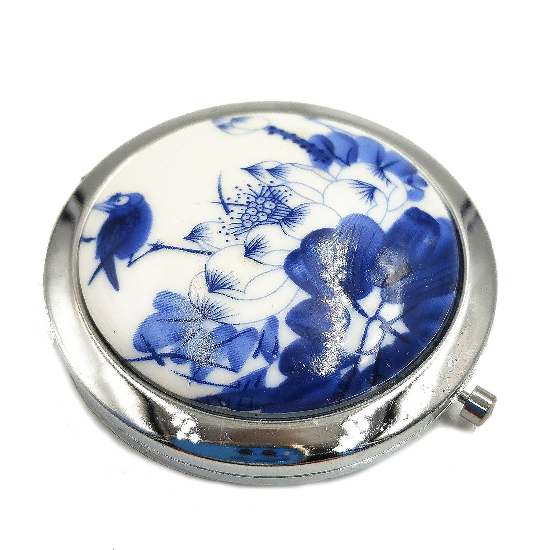 Miroir de poche pour femme pour filles Petit miroir de poche grossissant Maquillage Compack Miroir double en céramique Motif traditionnel chinois de voyage Sac à main Sac à main Miroir Bleu et blanc en porcelaine Jvxiangge