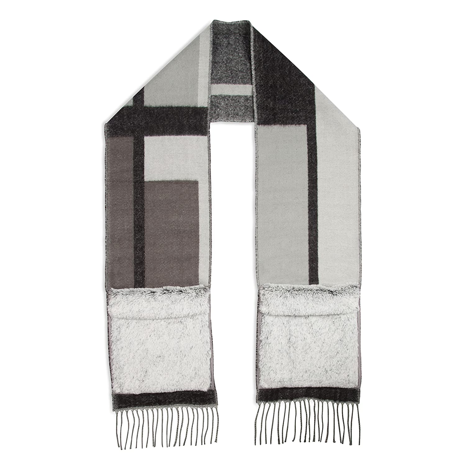 H2Z Scarves Women's Plaid Patterned Winter Fall Scarf with Soft Gray Hand Warmer Pockets, Black