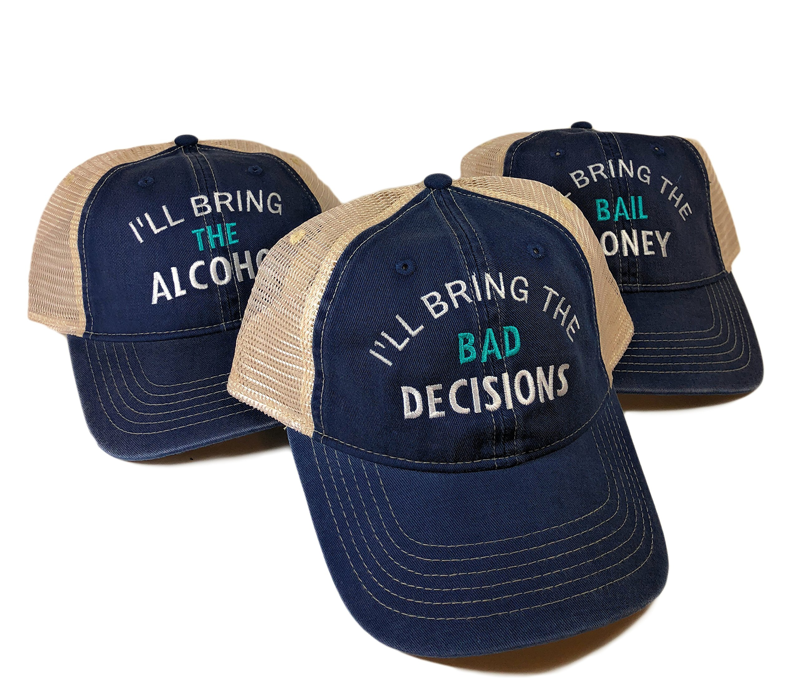 I'll Bring The Alcohol/Bad Decision/Bail Money Baseball Hats Set of 3 Blue Comfort Color