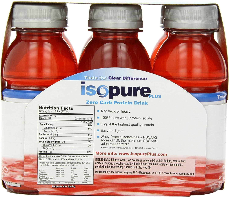 Isopure cocotein agua de coco Bebida, 470 ml, Natural, Pack de 12