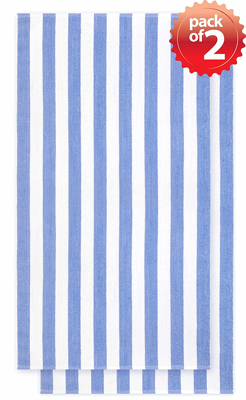 3 Stripe Blue Green Crover Vintage Style Velour Cabana Bath//Beach Towel Super Soft and Absorbent 30x60 100/% Terry Cloth Cotton 473 gram 2piece set