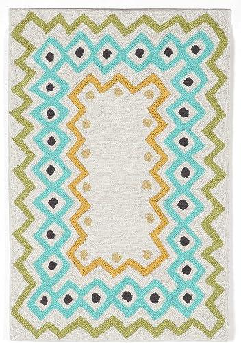 Liora Manne Capri Coastal Ethnic Border Pastel Indoor Outdoor Rug, 2 X 3 , Ivory Cream and Blue