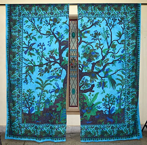 Traditional Jaipur Tree of Life Jungle Curtain Boho Window Treatment Set Door Hanging Drape Balcony Room Bohemian Decor Curtain Boho Set of 2-82 x 40 inches Each Good Luck Gift