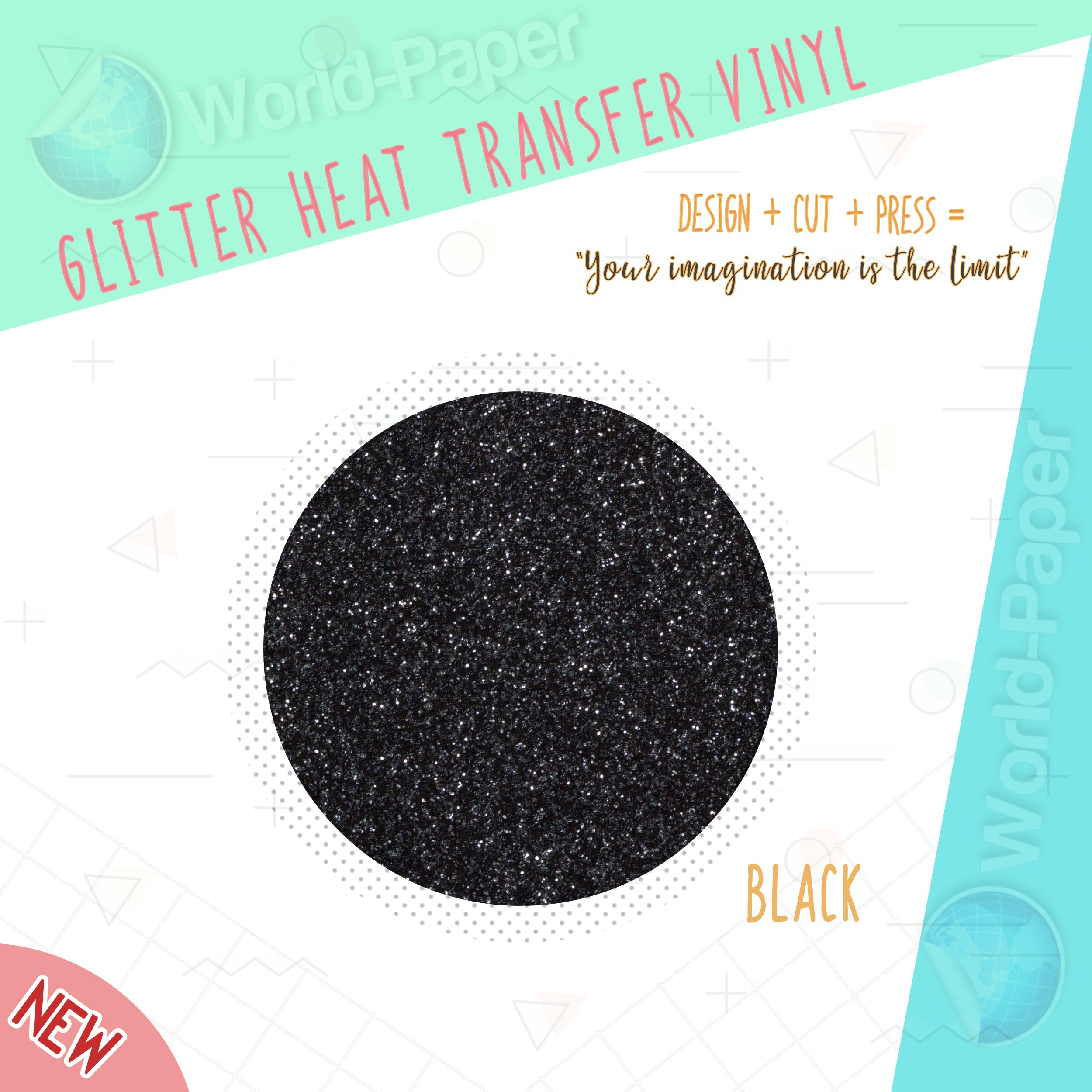 BEST Glitter Heat Transfer Vinyl HTV for T-Shirts 10'' x 10 Yards36 DIFFERENT COLORS (Black) by world paper glitter vinyl