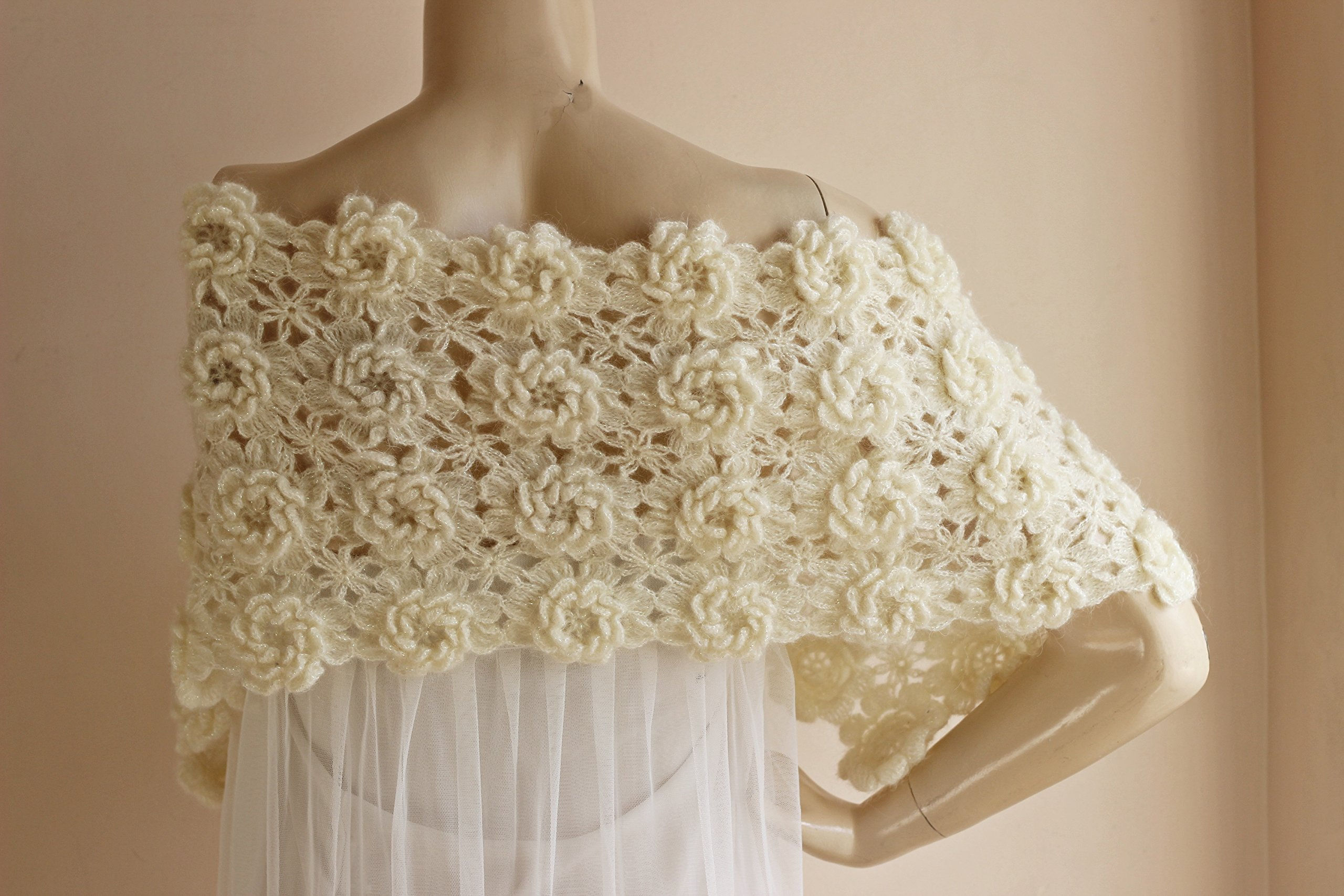 Ivory Bridal Cape-Lace Crochet Cape with Flowers-Bridal Wedding Cape-Lace Wedding Cape/Hand Crochet Sparkle Mohair Scarf-Ready to Ship