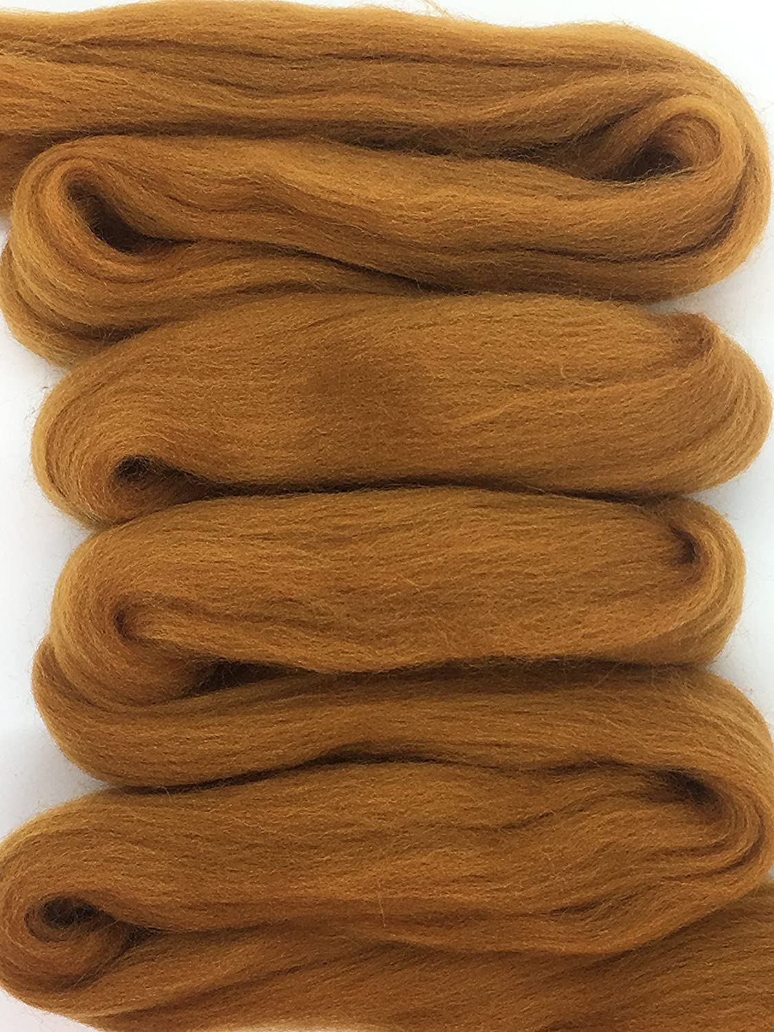 Cinnamon Spice Wool Top Roving Fiber Spinning, Felting Crafts USA (4oz) Shep' s Wool
