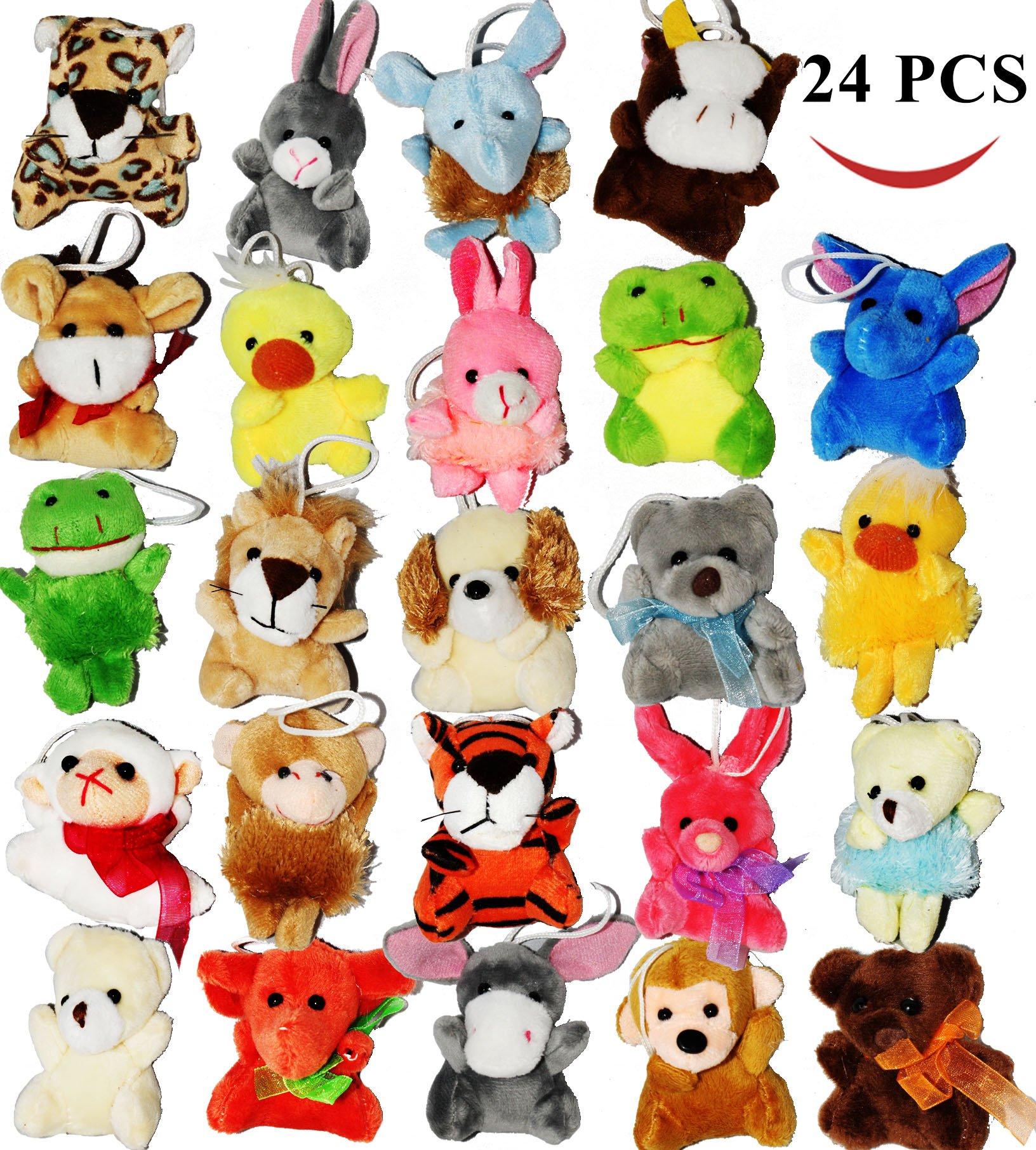 Joyin Toy 24 Pack of Mini Animal Plush Toy Assortment (24 units 3'' each) Kids Party Favors