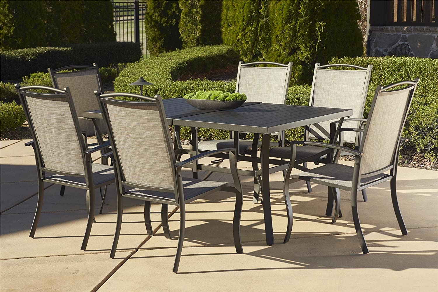 Amazon.com: Cosco Outdoor 7 Piece Serene Ridge Aluminum Patio Dining Set,  Dark Brown: Garden U0026 Outdoor