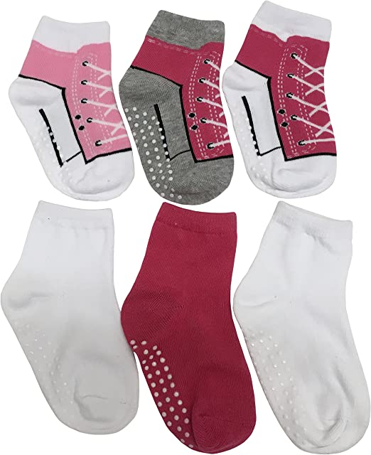 NIce Caps Girls and Baby Cotton//Spandex Casual Crew Gripper Socks 6 Pair Pack