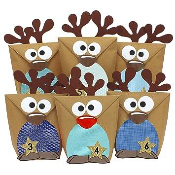 Weihnachtskalender 2019 Für Kinder.Papierdrachen Diy Adventskalender Zum Befüllen Rentiere Mit Blauen Bäuchen Zum Selber Basteln 24 Tüten Zum Individuellen Gestalten Und Zum