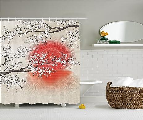 Amazon.com: Japanese Garden Park Decor by Ambesonne, Sakura Cherry ...