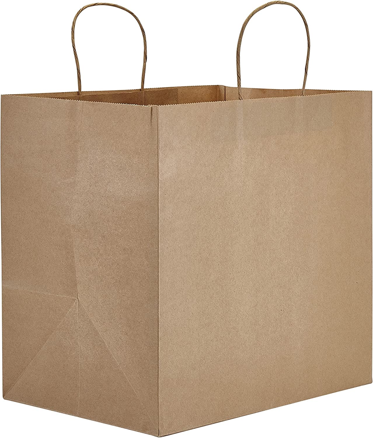 """PTP BAGS Natural 13"""" x 9.75"""" x 13"""" Tote Bags [Pack of 250] Recyclable Kraft Paper Gift, Food Service Bags"""