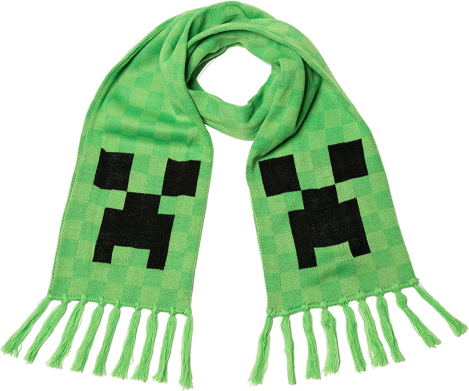 Amazon Com Jinx Minecraft Creeper Face Fringed Knit Scarf Green 60 X 8 Clothing