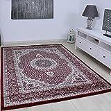 VIMODA Teppich Klassisch Gemustert Kreis sehr dicht gewebt Orient Muster in Rot Top Qualität 80x150 cm