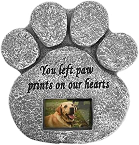 Barnyard Designs 'You Left Paw Prints On Our Hearts' Paw Print Pet Memorial Stone with Customizable Photo Slot. Loss of Pet Gift. Dog or Cat Memorial.